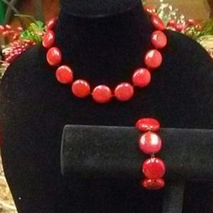 Vintage Red Statement Necklace & Bracelet Set